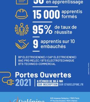 Affiche de la journée portes ouvertes du 6 février 2021 au CFA Delépine.