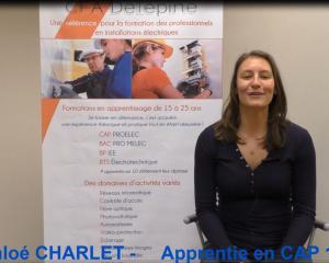 Témoignage de Chloé CHARLET - apprentie CAP PROLEC en 1 an