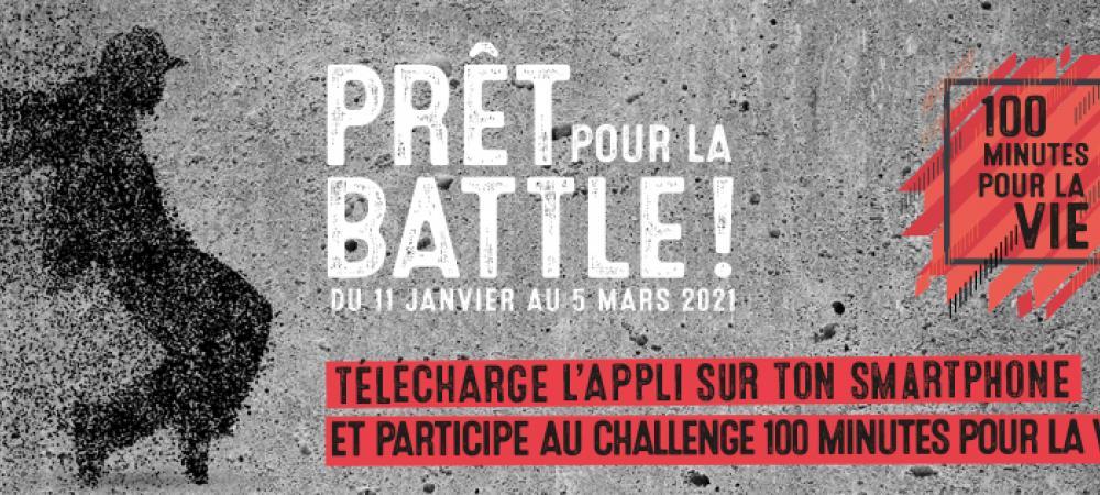 Bannière du concours 100 minutes pour la vie représentant une jeune silhouette féminine sur fond gris.